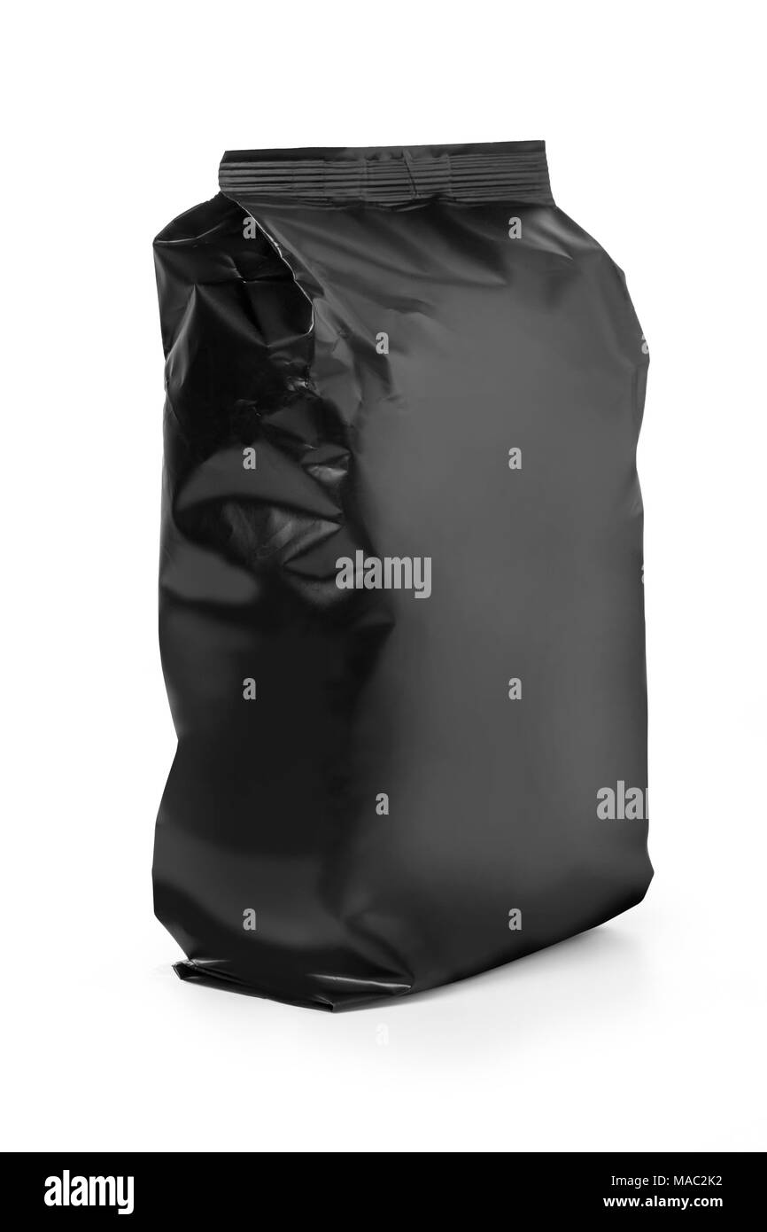 Black bag isolated on white background with clipping path - Stock Image