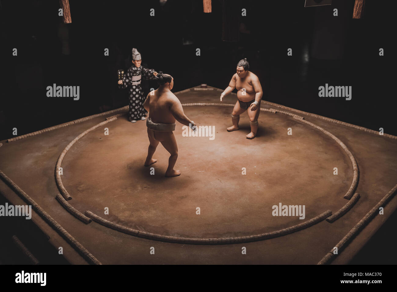 Sumo wrestlers on display in London at the Isle of Dogs exhibition, directed by Wes Anderson – March 2018 - Stock Image