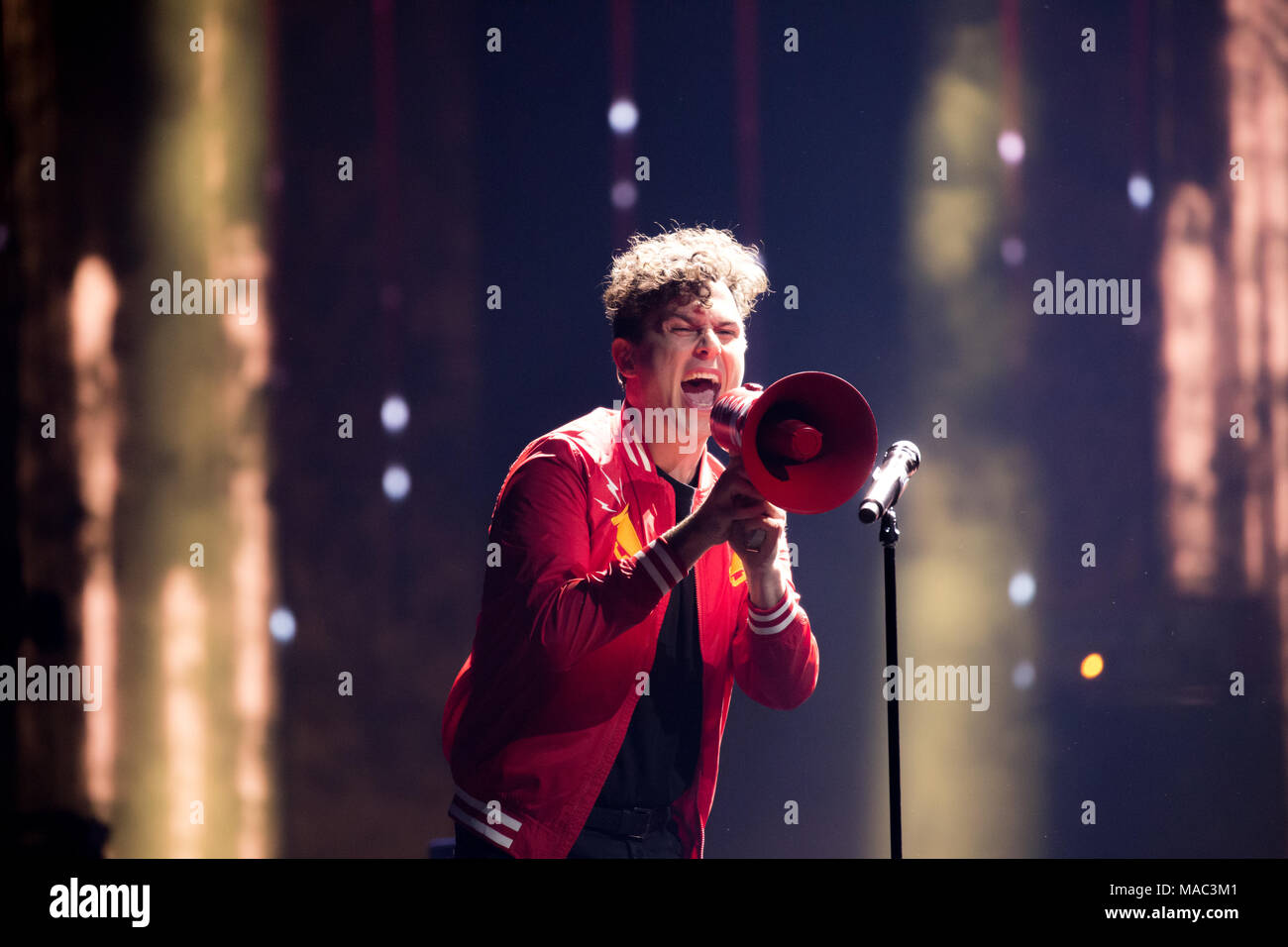 Vancouver, CANADA. 26th March, 2018. Arkells perform 'Knocking At The Door' at the 2018 Juno Awards in Vancouver. Credit: Bobby Singh/fohphoto - Stock Image