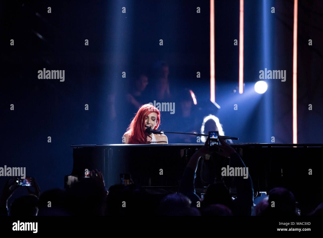 Vancouver, CANADA. 26th March, 2018. Lights performs at the 2018 Juno Awards in Vancouver. Credit: Bobby Singh/fohphoto - Stock Image