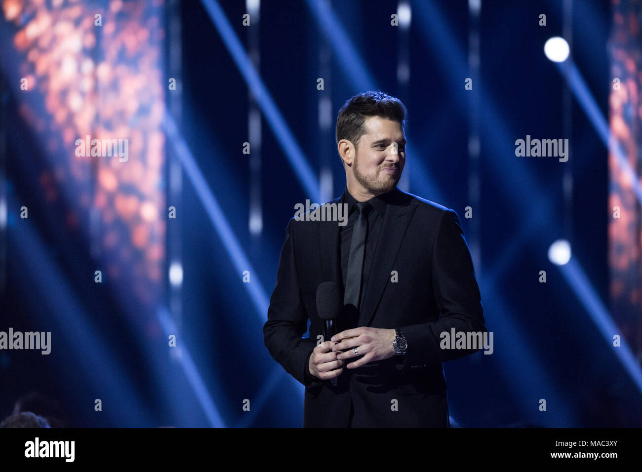 Vancouver, CANADA. 26th March, 2018. Host Michael Buble at the 2018 Juno Awards in Vancouver. Credit: Bobby Singh/fohphoto - Stock Image