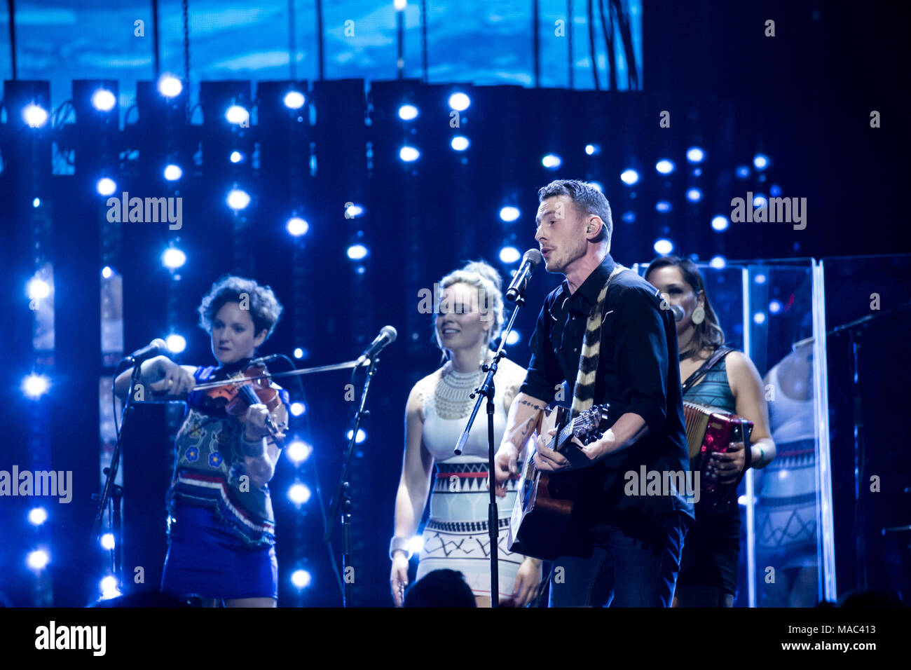 Vancouver, CANADA. 26th March, 2018. The Jerry Cans performing at the 2018 Juno Awards in Vancouver. Credit: Bobby Singh/fohphoto - Stock Image