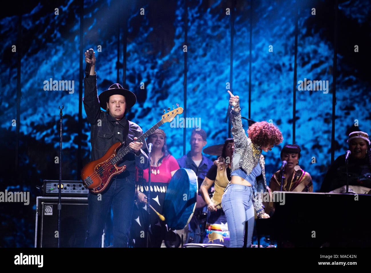 Vancouver, CANADA. 26th March, 2018. Arcade Fire performing at the 2018 Juno Awards in Vancouver. Credit: Bobby Singh/fohphoto - Stock Image