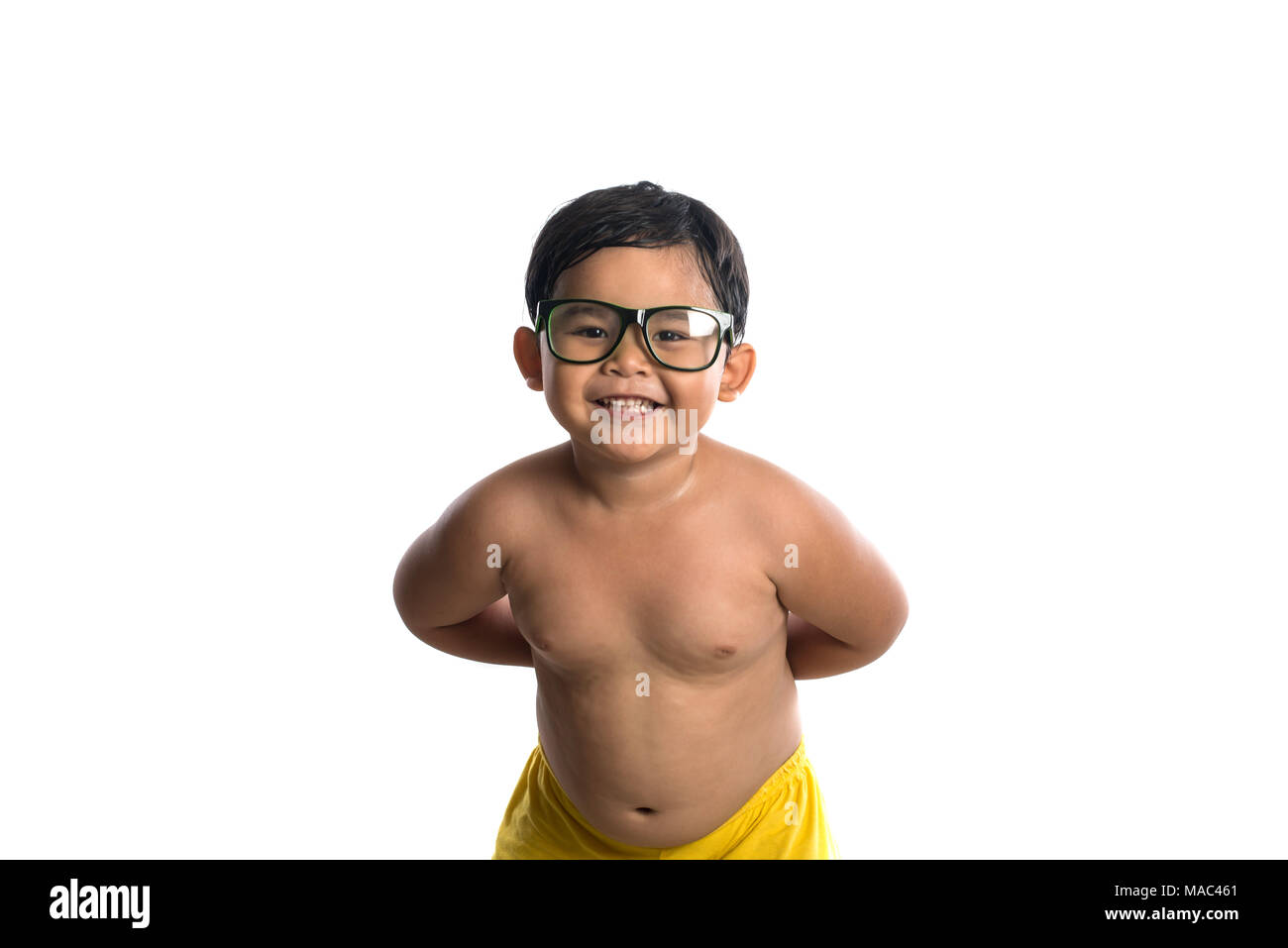 786a4b9ac6be Happy little cute asian boy wear glasses with happy face smile to camera,  Happy time. Little boy with glasses isolated on white background.