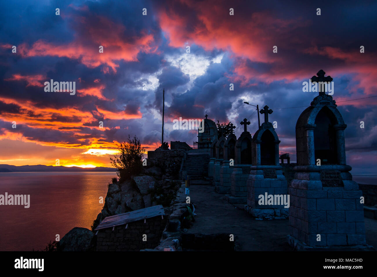 Lake titicaca crosses at sunset - Stock Image