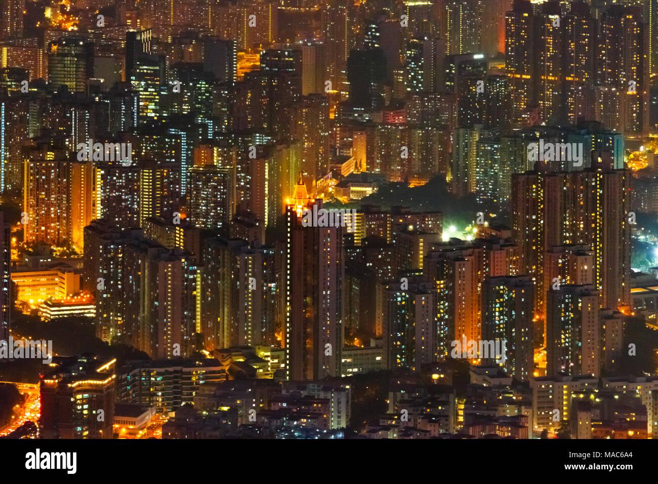 Aerial view of high rises at dusk, Hong Kong, China - Stock Image