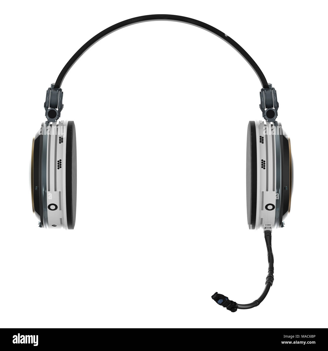 3d rendering headset or headphones with microphone on white background Stock Photo
