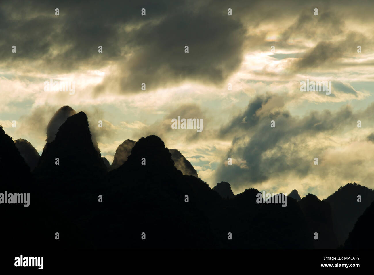 Moon Hill at sunset, Yangshuo, Guangxi, China Stock Photo