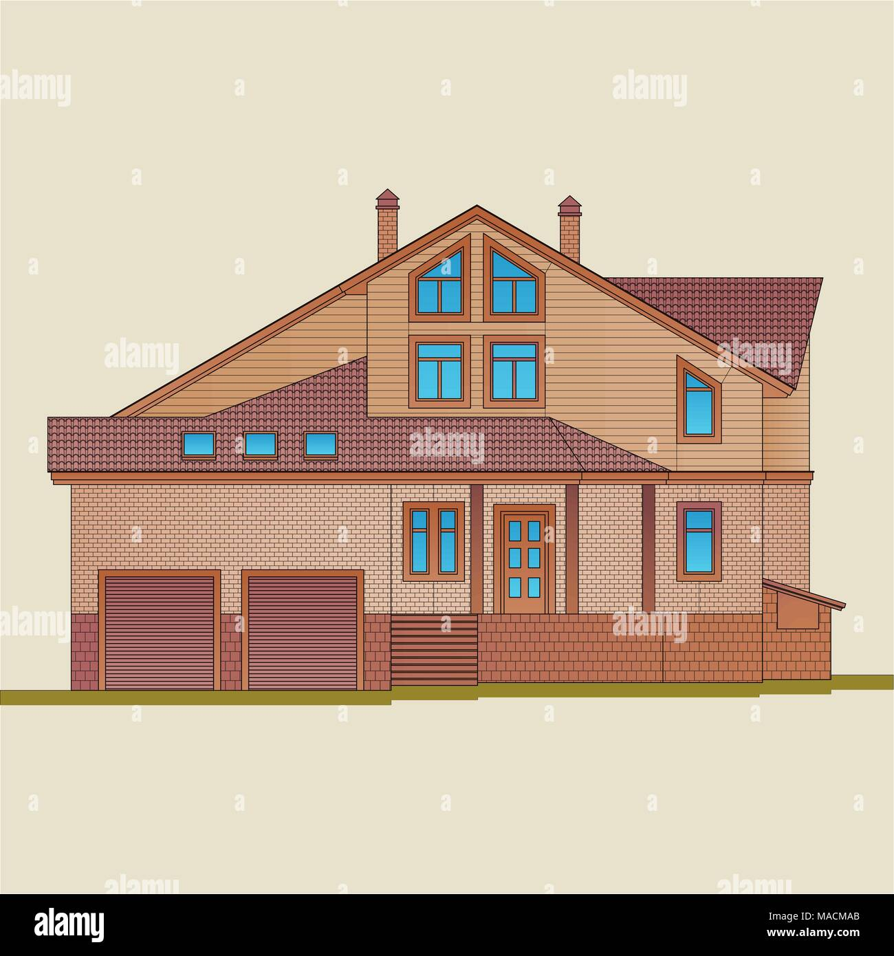 The house is built of light brick and natural wood. American style architecture of a residential building. - Stock Vector