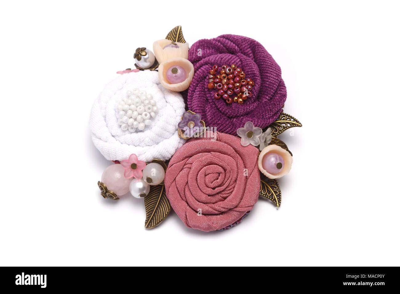 Brooch Handmade Consisting From Of White Pink And Lilac Flowers