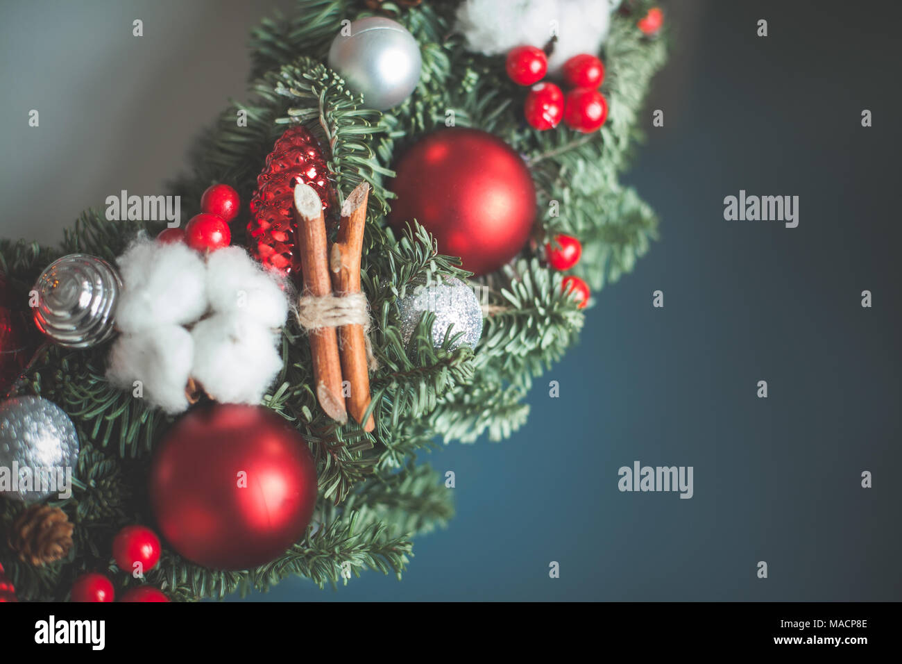 Christmas Background Border with New Year Decorations - Stock Image
