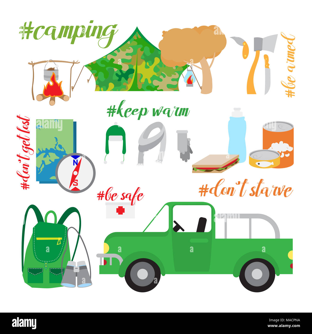 tourism and camping icons detailed vector set - Stock Image