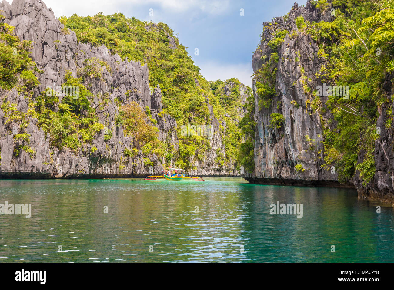 View of the Big Lagoon in El Nido Palawan - Stock Image
