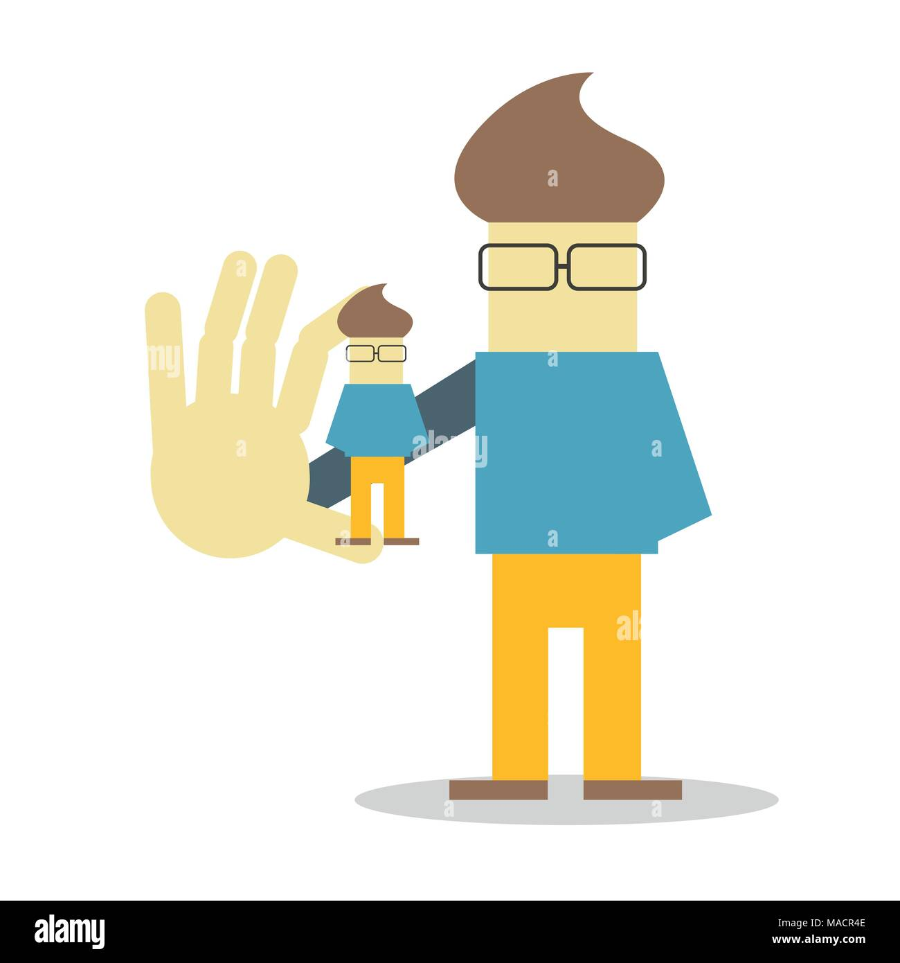 Self presentation. Young character holding his 3D model on the palm flat editable vector illustration, clip art - Stock Image