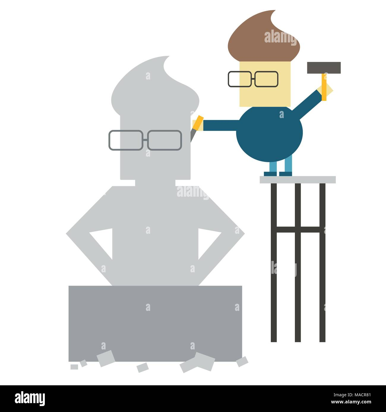 Make yourself. Vector flat illustration - man makes his statue from a large piece of stone - Stock Image