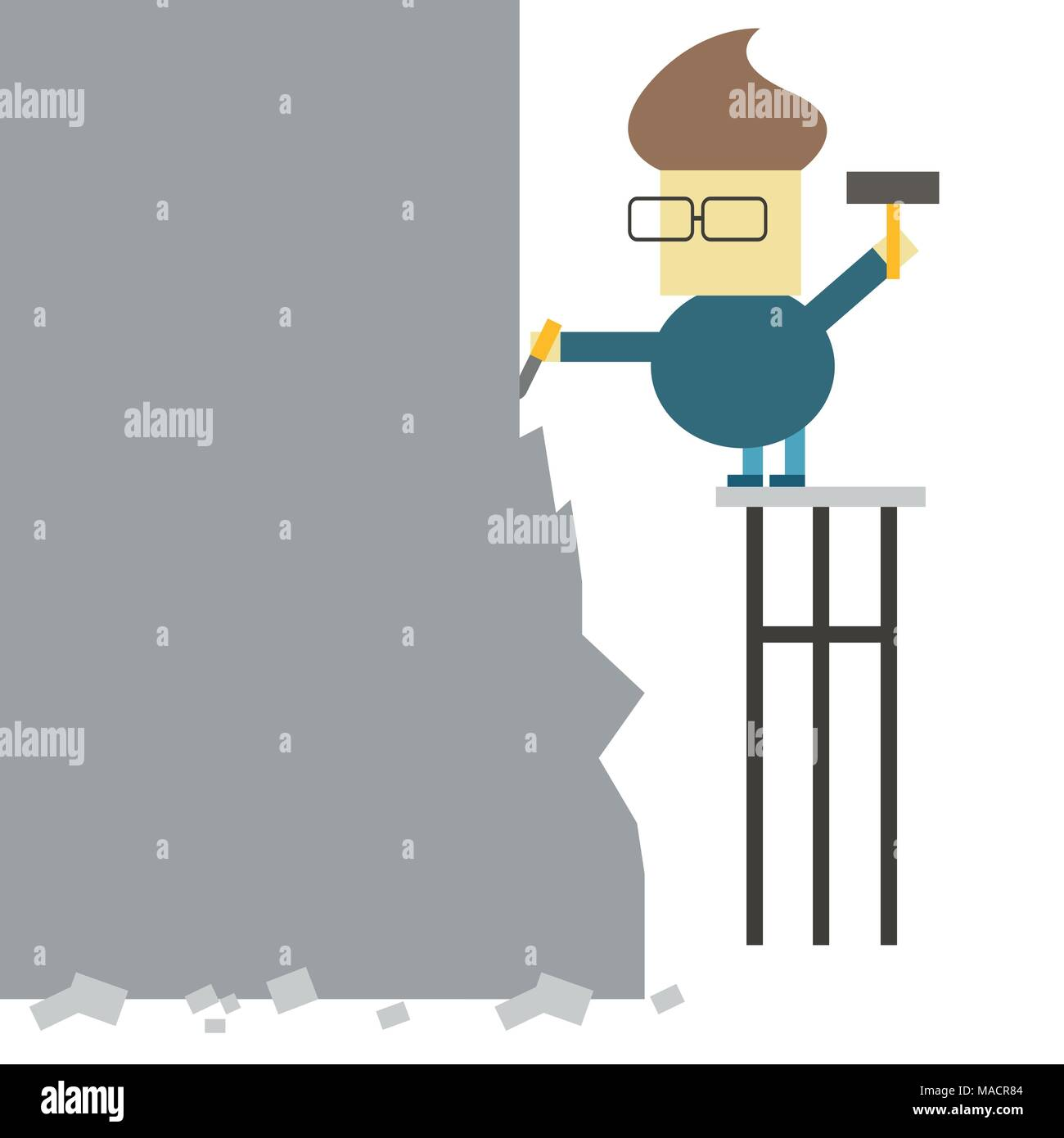 Make yourself. Vector flat illustration - man makes statue from a large piece of stone - Stock Vector