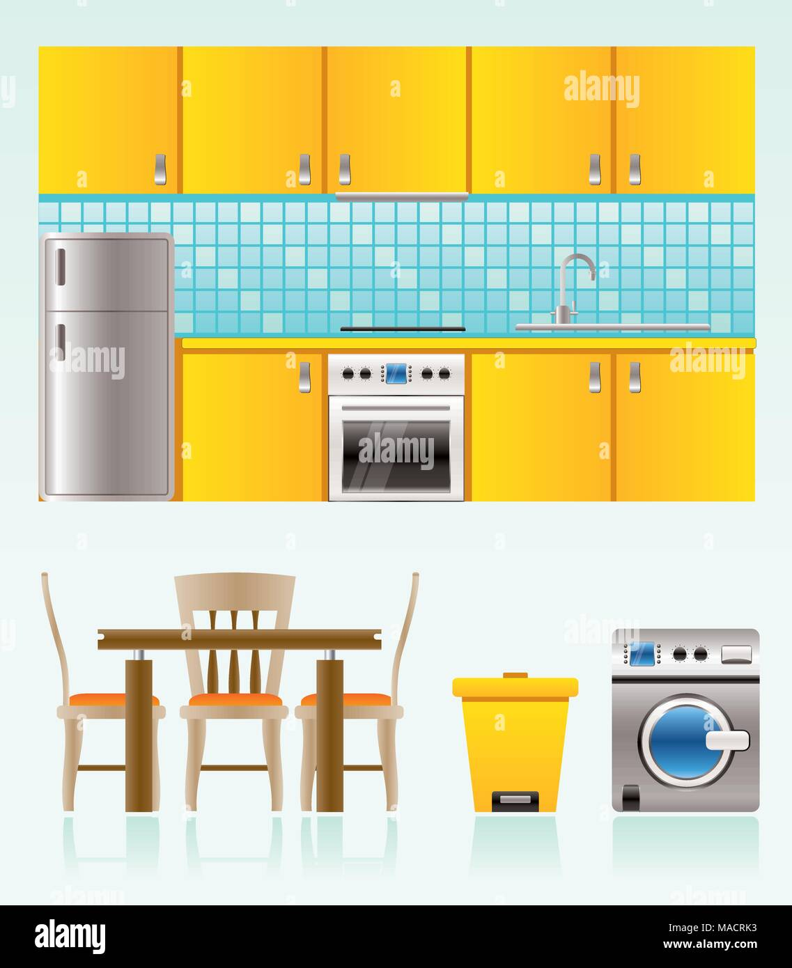 kitchen objects, furniture and equipment - vector illustration - Stock Vector