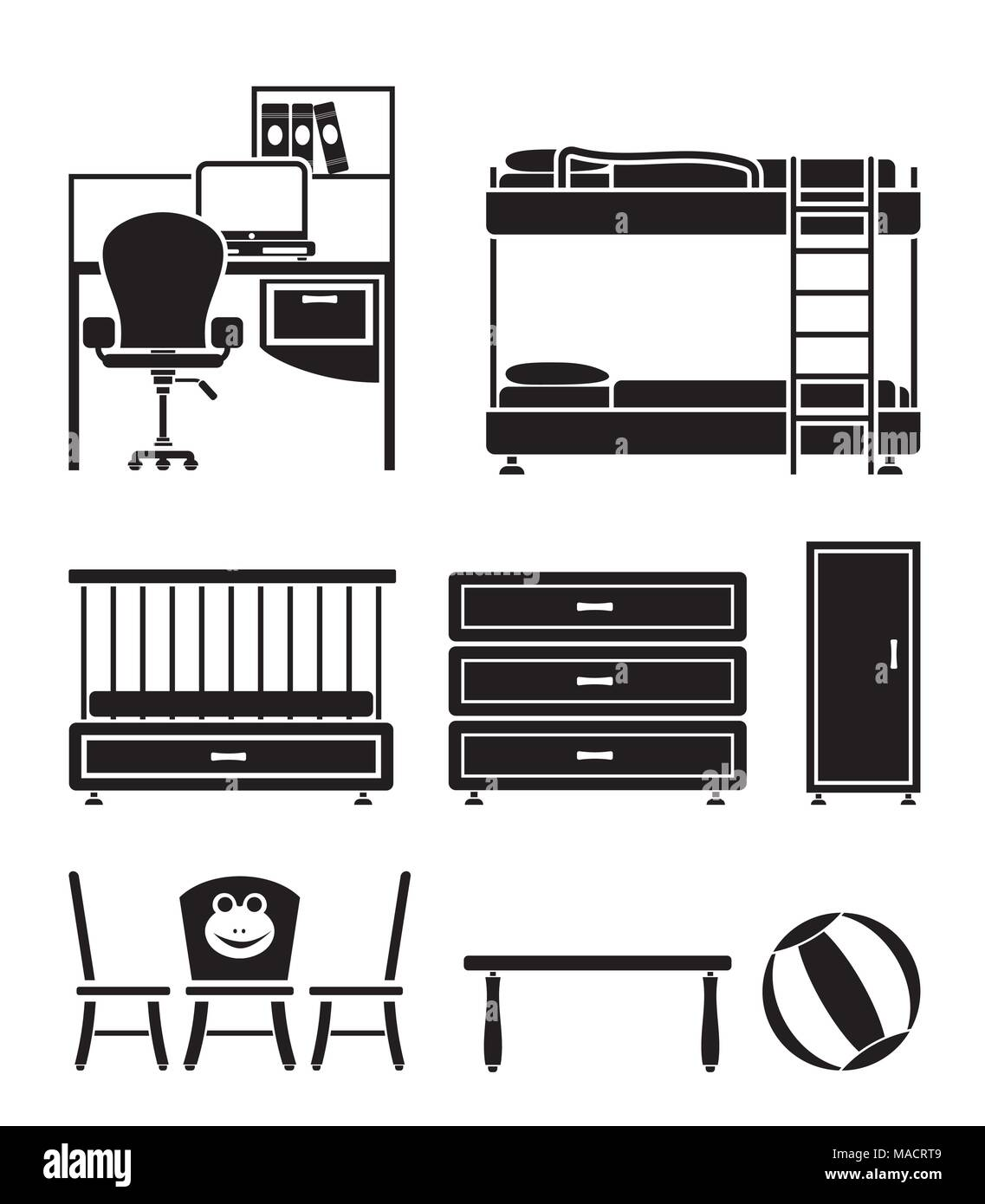 nursery and children room objects, furniture and equipment - vector illustration Stock Vector