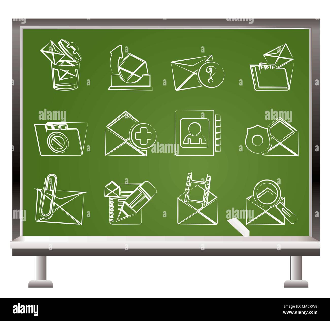 E-mail and Message Icons - vector icon set - Stock Image