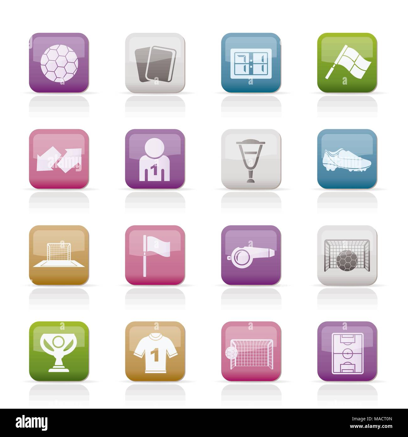 football, soccer and sport icons - vector icon set - Stock Vector