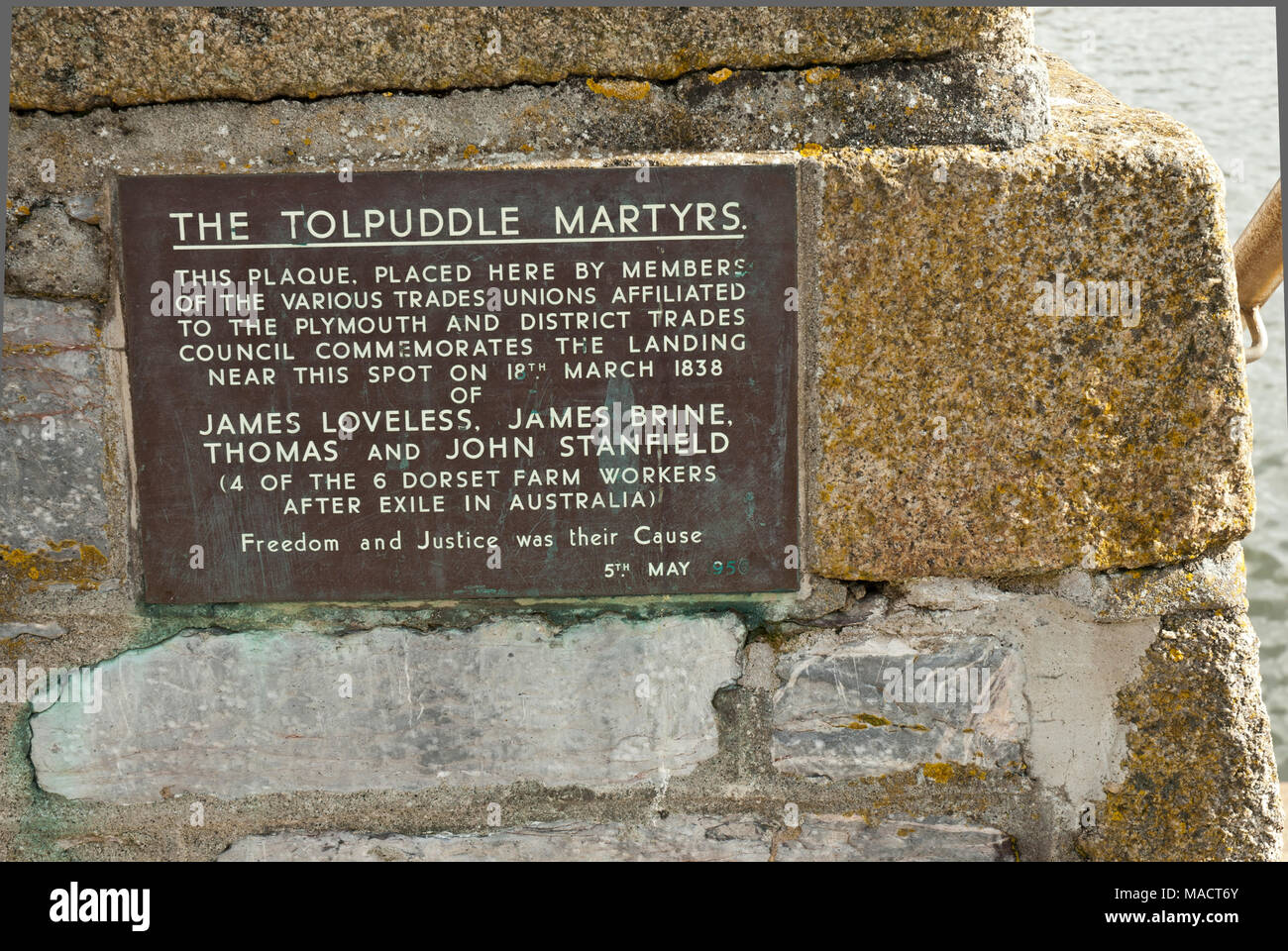 Plaque on the historic Barbican, Plymouth to commemorate the landing of the Tolpuddle martyrs on their return form exile in Australia; Stock Photo