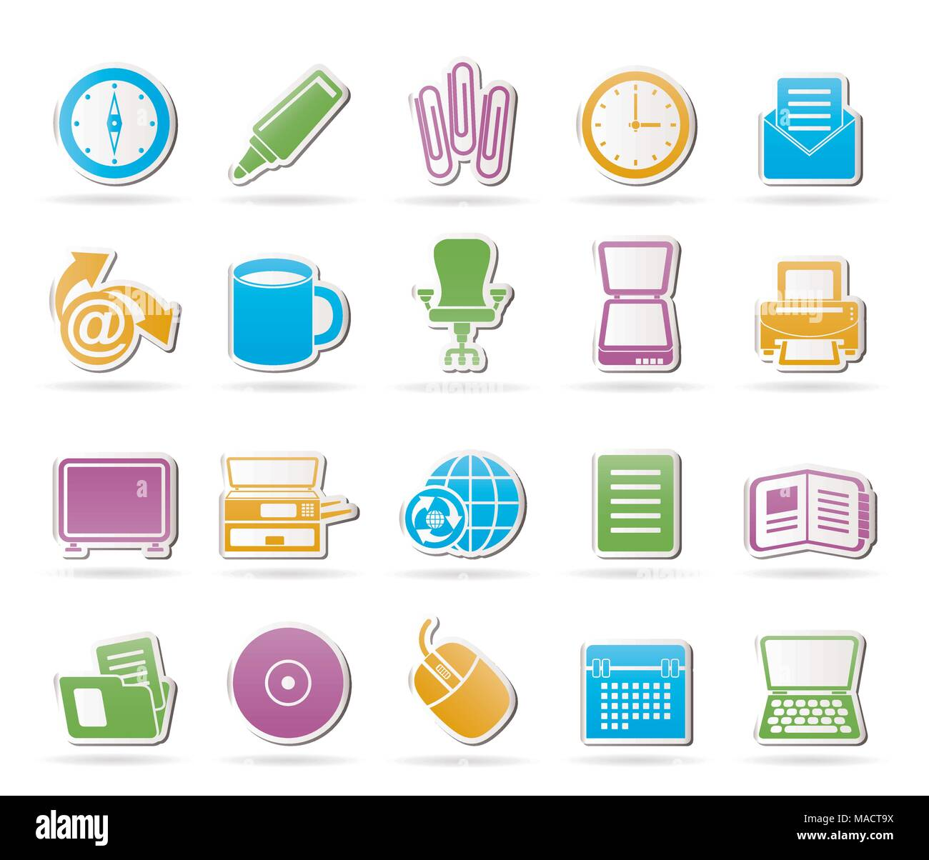 Business and Office tools icons - vector icon set 2 Stock