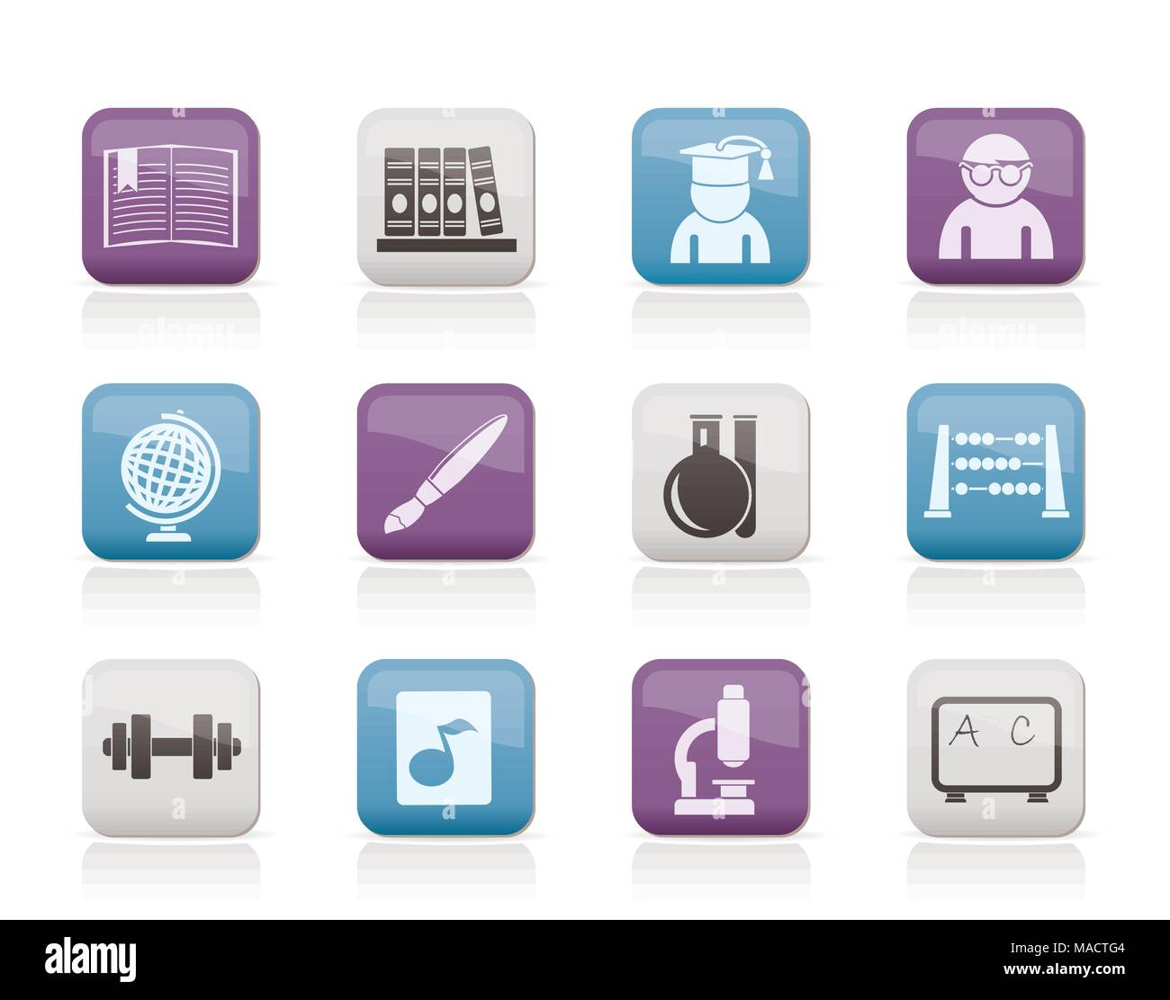 school and education icons - vector icon set - Stock Vector