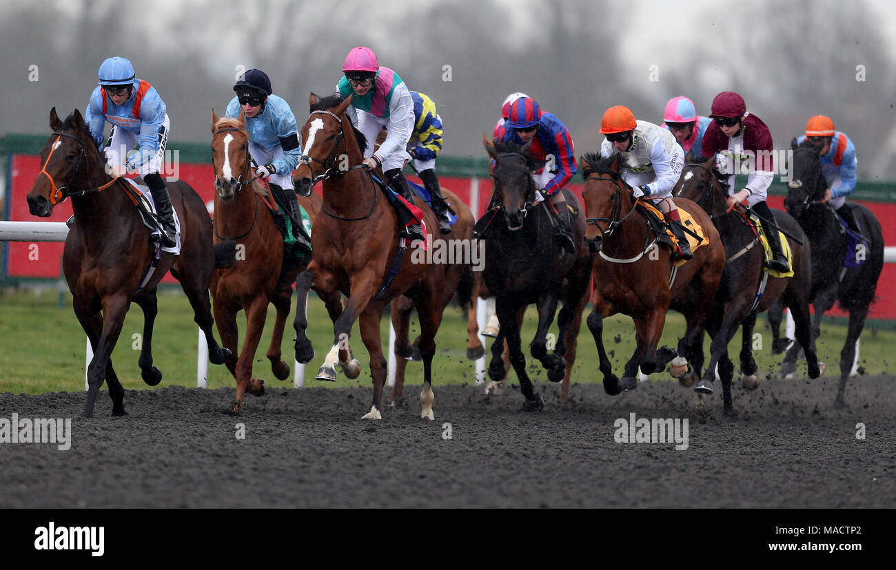 Crossed baton ridden by robert havlin third left goes on to win robert havlin third left goes on to win the matchbook betting exchange ebf novice stakes during the easter family fun day at kempton park racecourse negle Images
