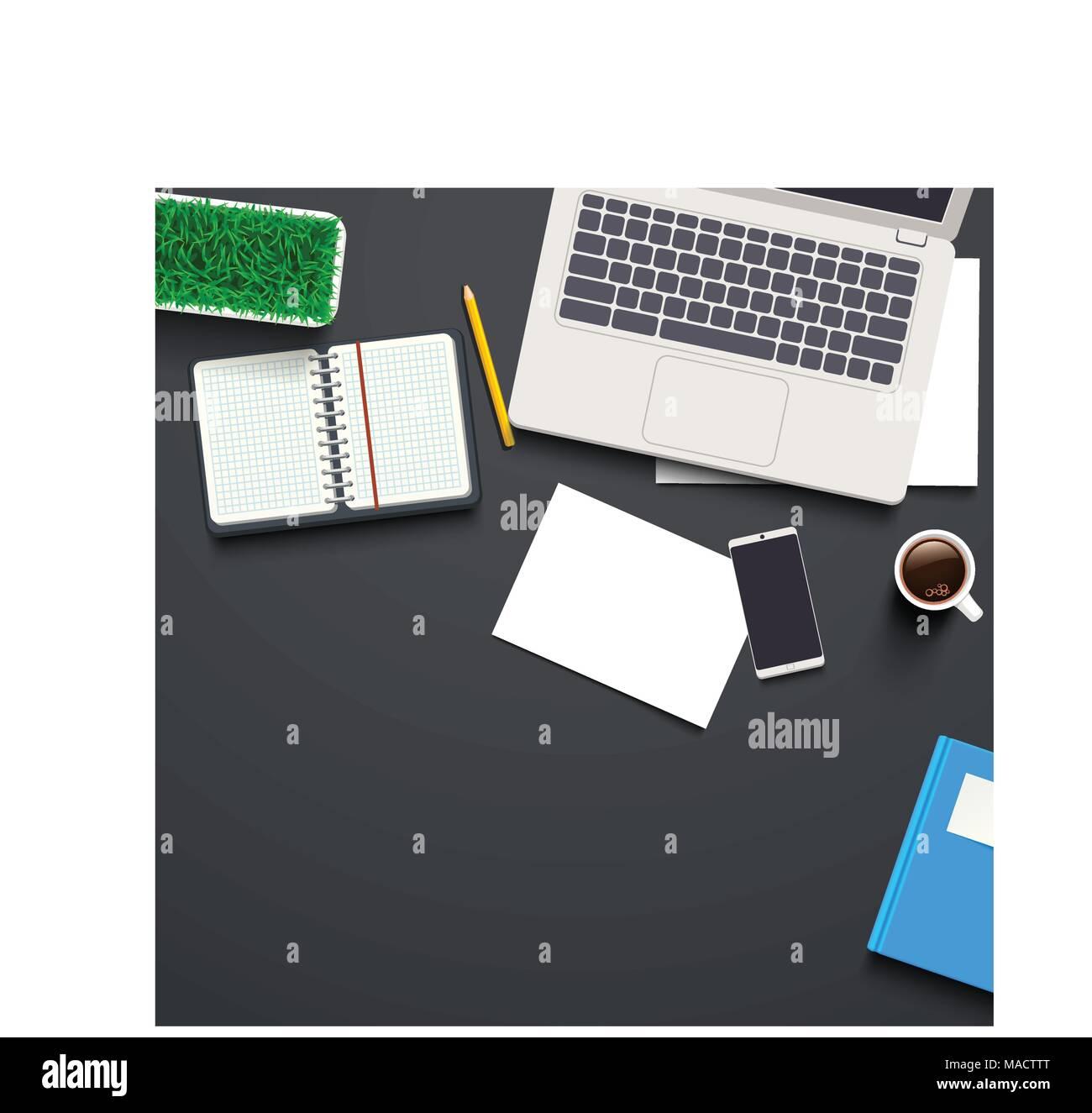 top view on work desk - Stock Vector