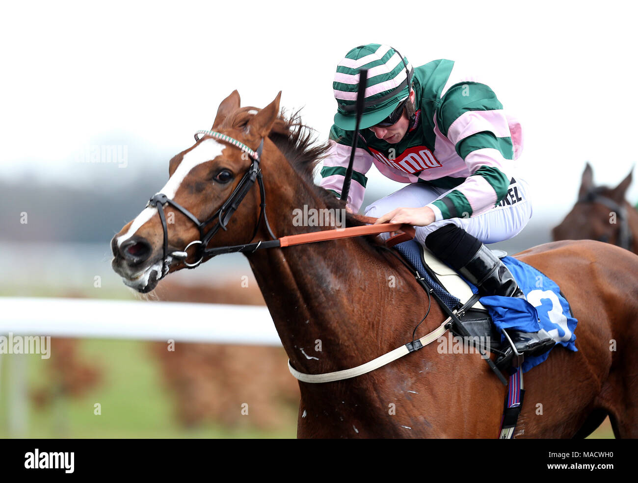 Inn the bull ridden by tom marquand goes onto win the matchbook inn the bull ridden by tom marquand goes onto win the matchbook casino handicap during the easter family fun day at kempton park racecourse negle Images