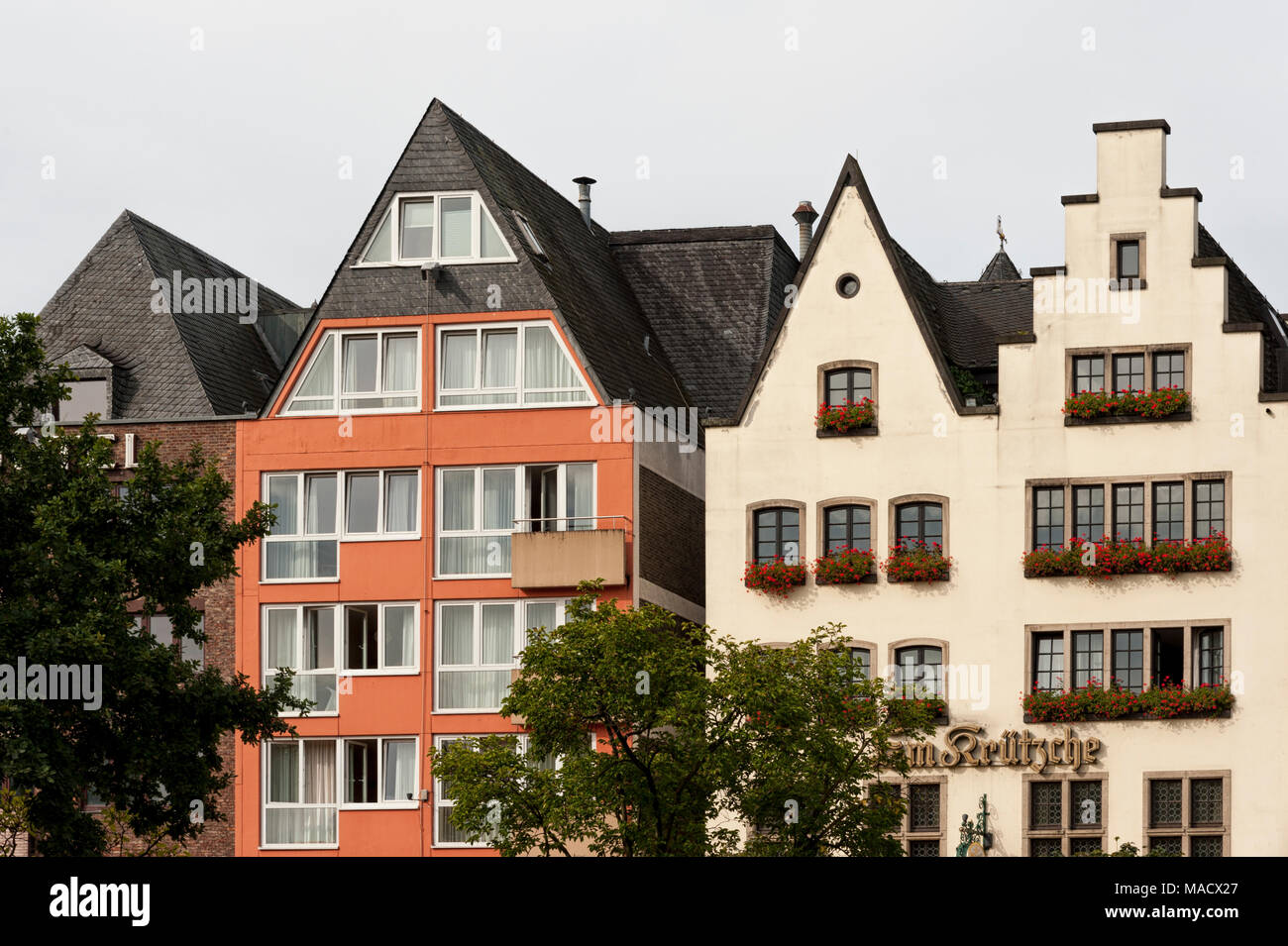 Colorful houses in Bavarian style in the old town of Cologne, North Rhine-Westphalia - Germany Stock Photo
