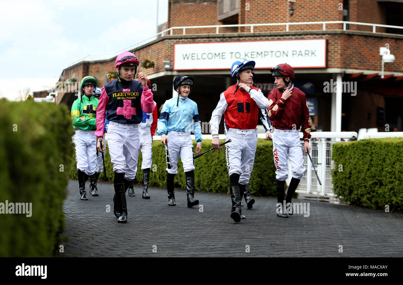 General view of jockeys walking into the parade ring before the general view of jockeys walking into the parade ring before the matchbook betting podcast rosebery handicap during the easter family fun day at kempton negle Images