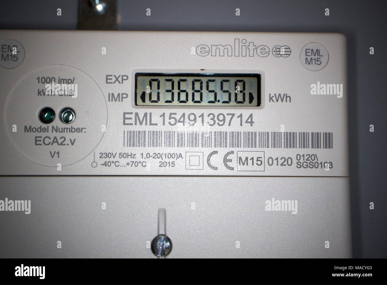 solar pv electricity generation meter used for rocs payments - Stock Image