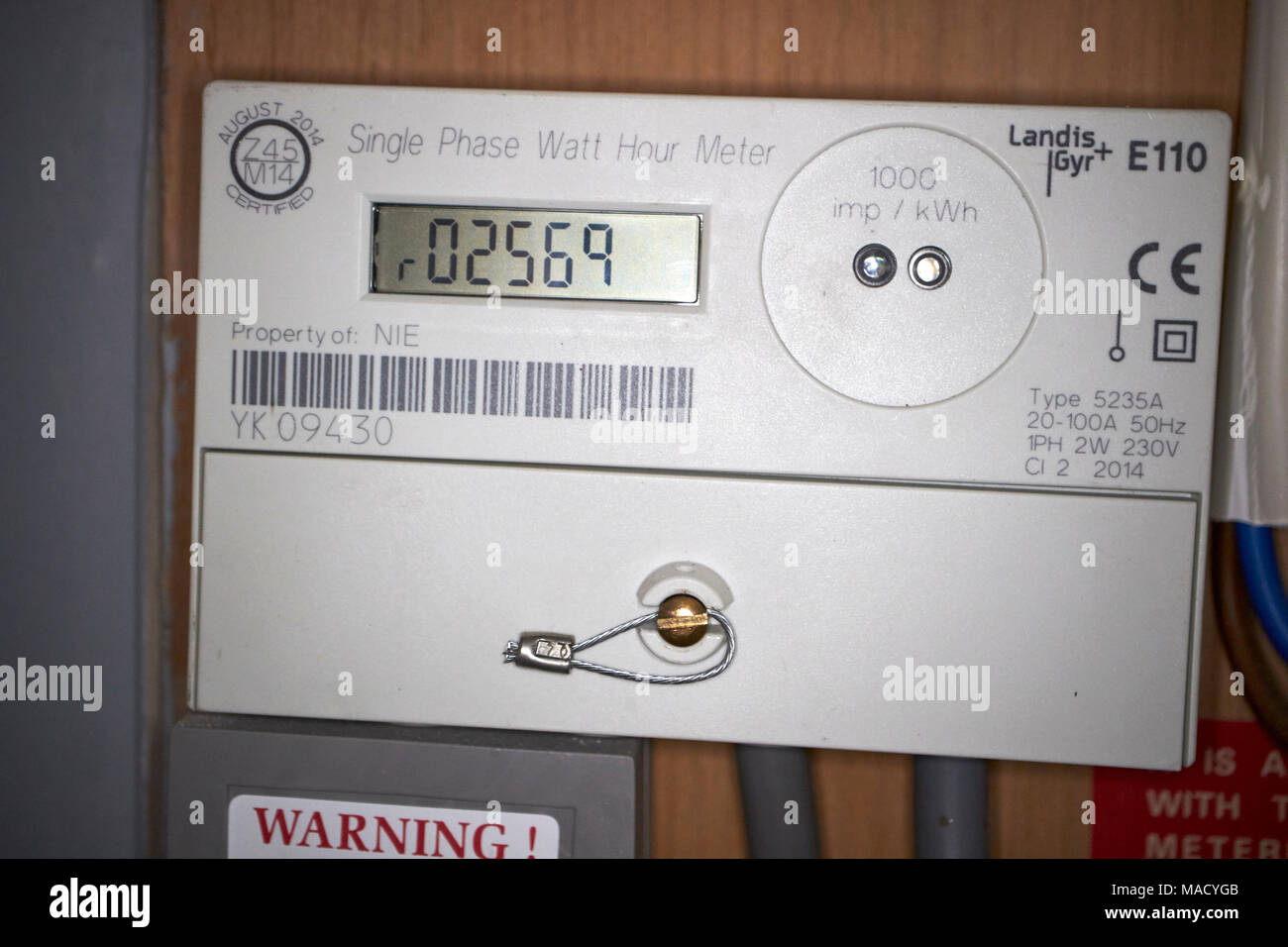 domestic single phase electricity meter with export for solar pv electricity generation meter used for feed in tariff payments - Stock Image