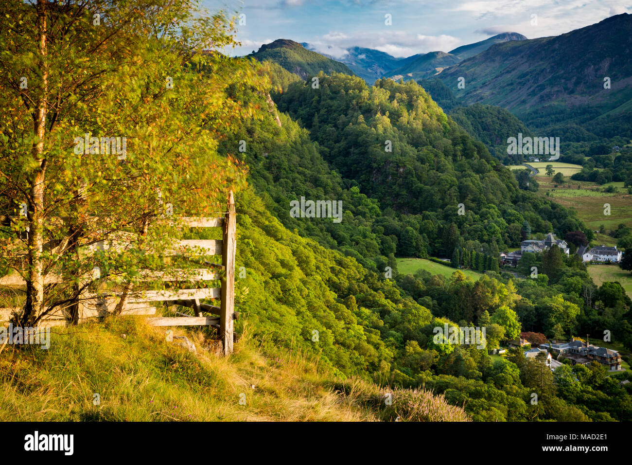Overlooking Borrowdale Valley, Derwentwater, Lake District, Cumbria, England - Stock Image