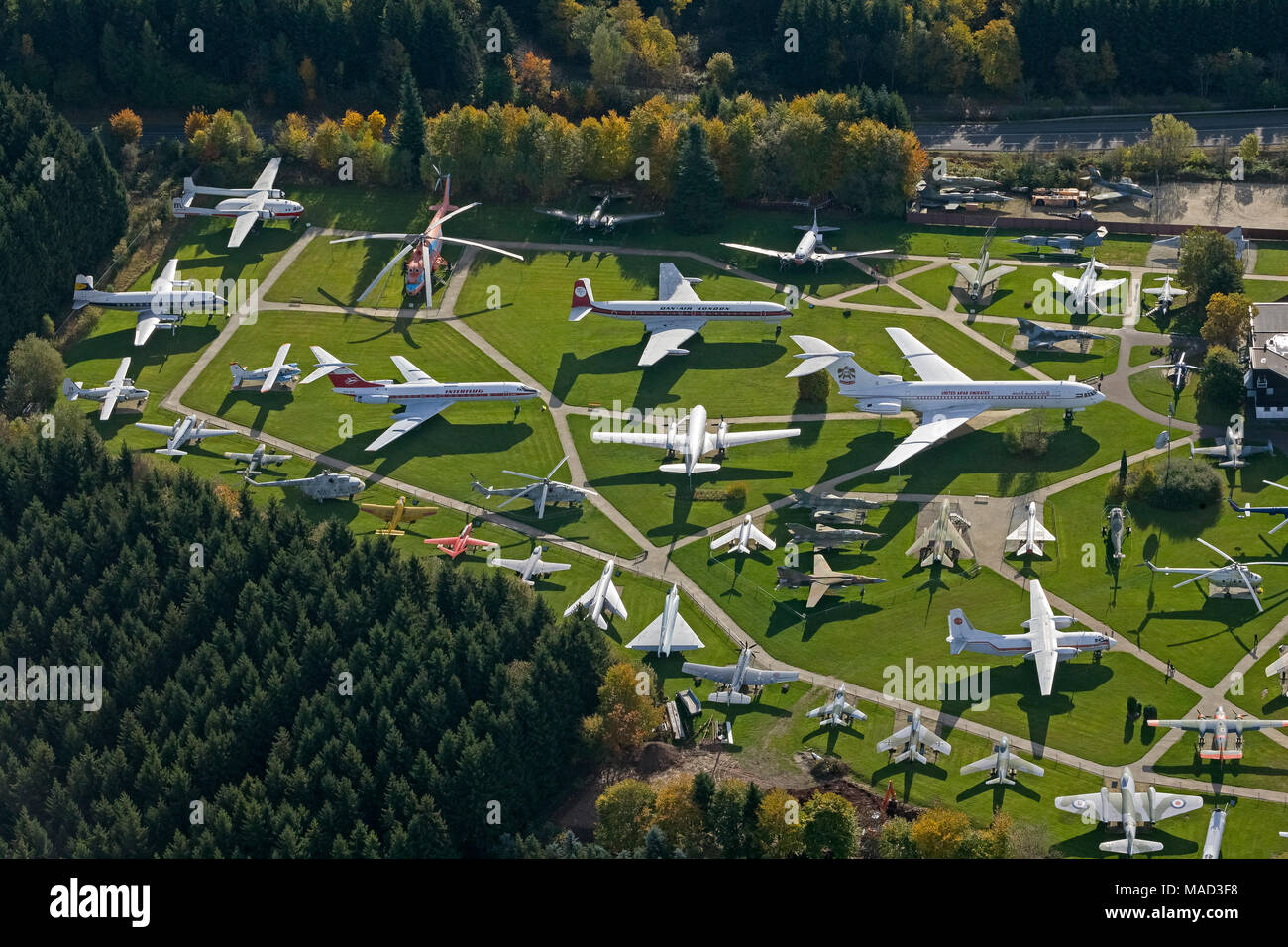 Aerial photo, Flight Exhibition L. + P. Junior Private Aviation Museum, Antonow An-26, Concorde, Messerschmitt Bf 108, F-104 Starfighter, McDonnell F- - Stock Image