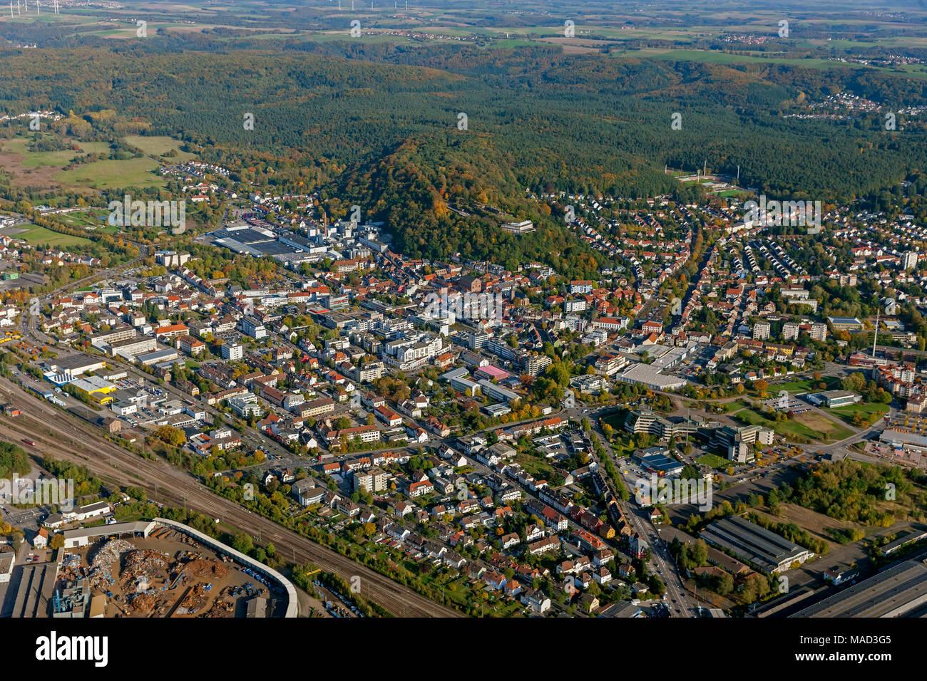 Homburg, Saarland, Deutschland, Europa, Luftbild, birds-eyes view, Luftaufnahme, Luftbildfotografie, Luftfotografie, overview, Uebersicht, Vogelperspe - Stock Image
