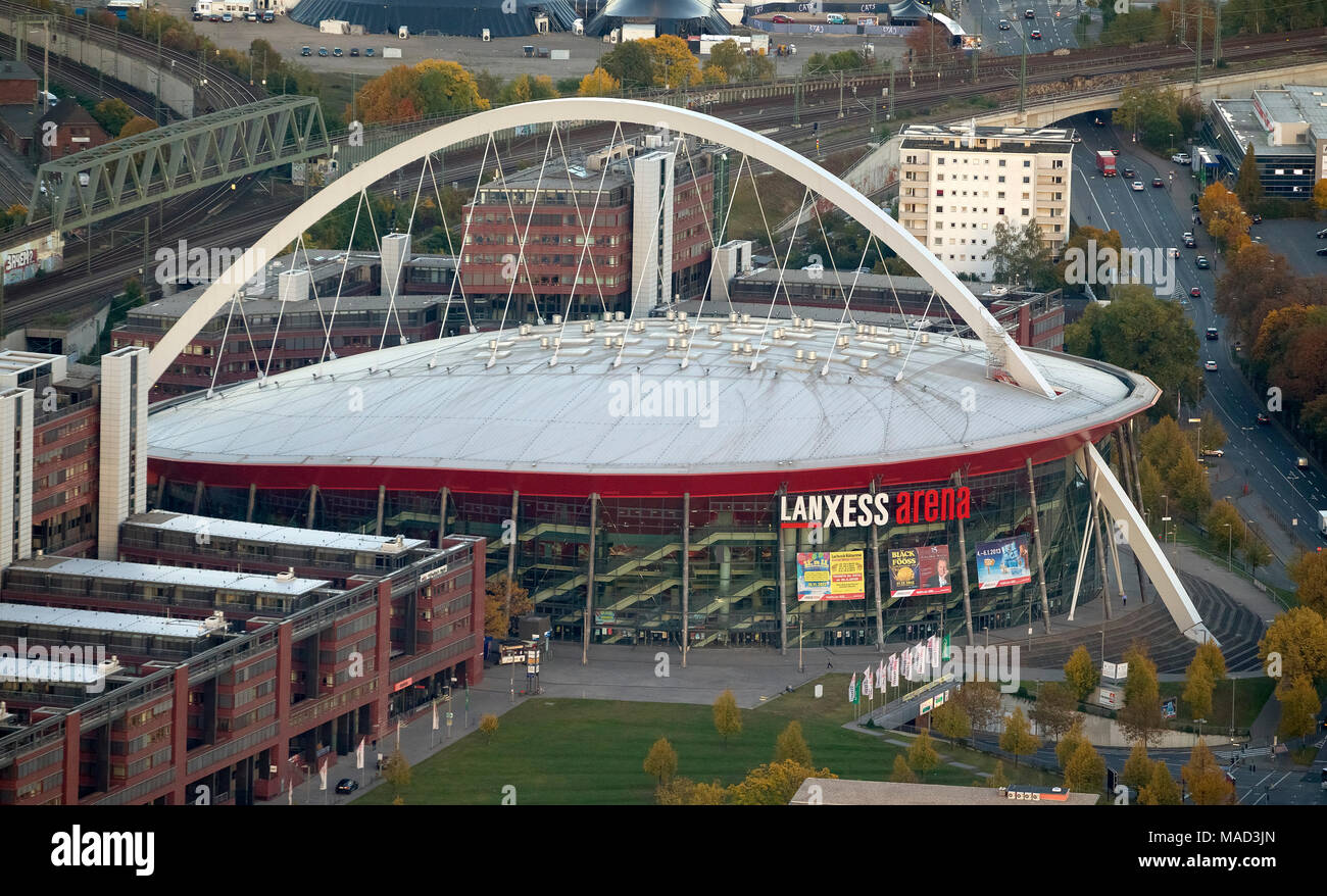 Aerial view, LANXESS arena, multi-purpose hall in Cologne's Deutz district, hockey club Kölner Haie, Cologne Arena, Cologne, Rhineland, Cologne Bay, N - Stock Image