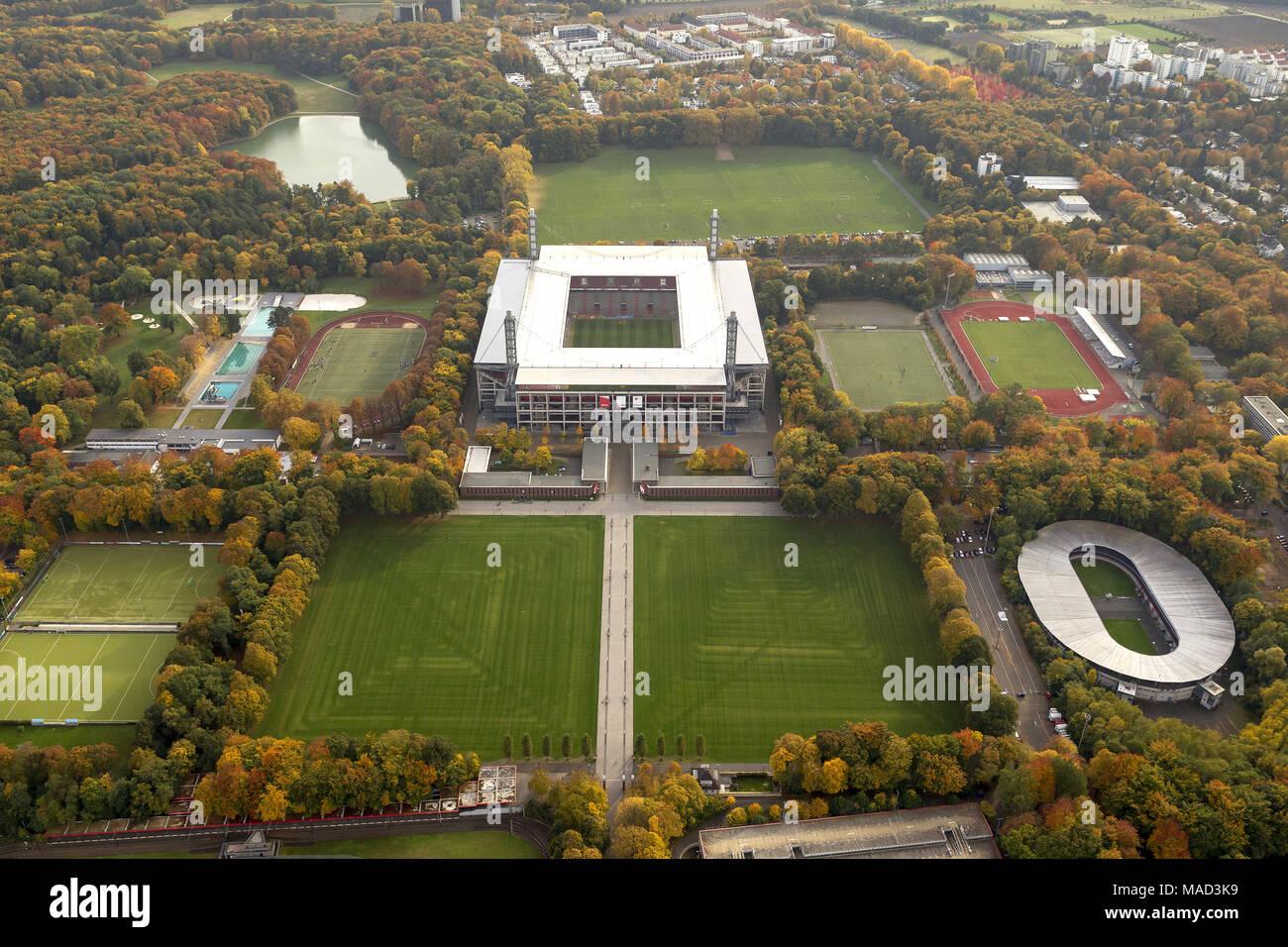 Aerial view, Territorial Energy Stadium, 1.FC Koeln, Rhein Energie Stadium, 2.Bundesliga, Cologne, Rhineland, North Rhine-Westphalia, Germany, Europe, Stock Photo