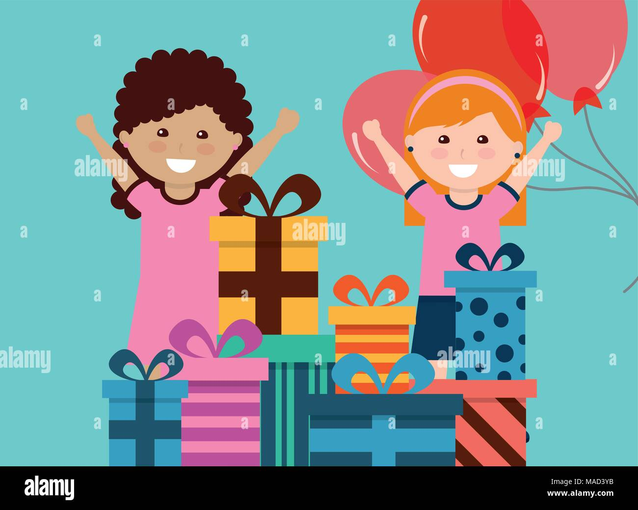 Cute Two Girl With Many Gift Boxes And Balloons Kids Happy