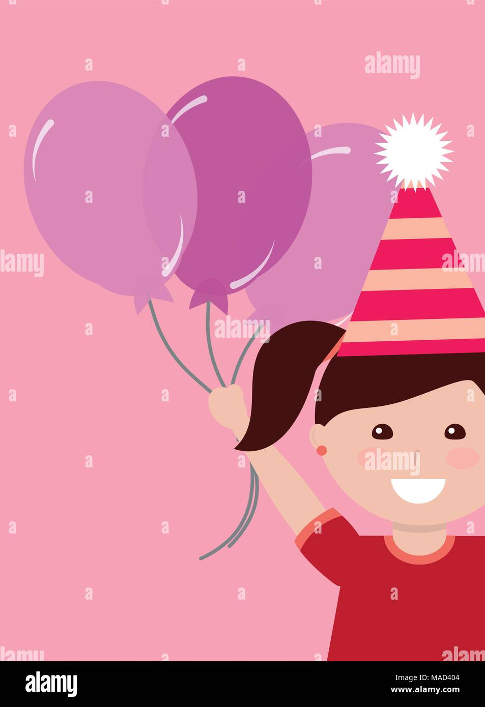 Cute Little Girl With Party Hat Holding Bunch Balloons Kids Happy