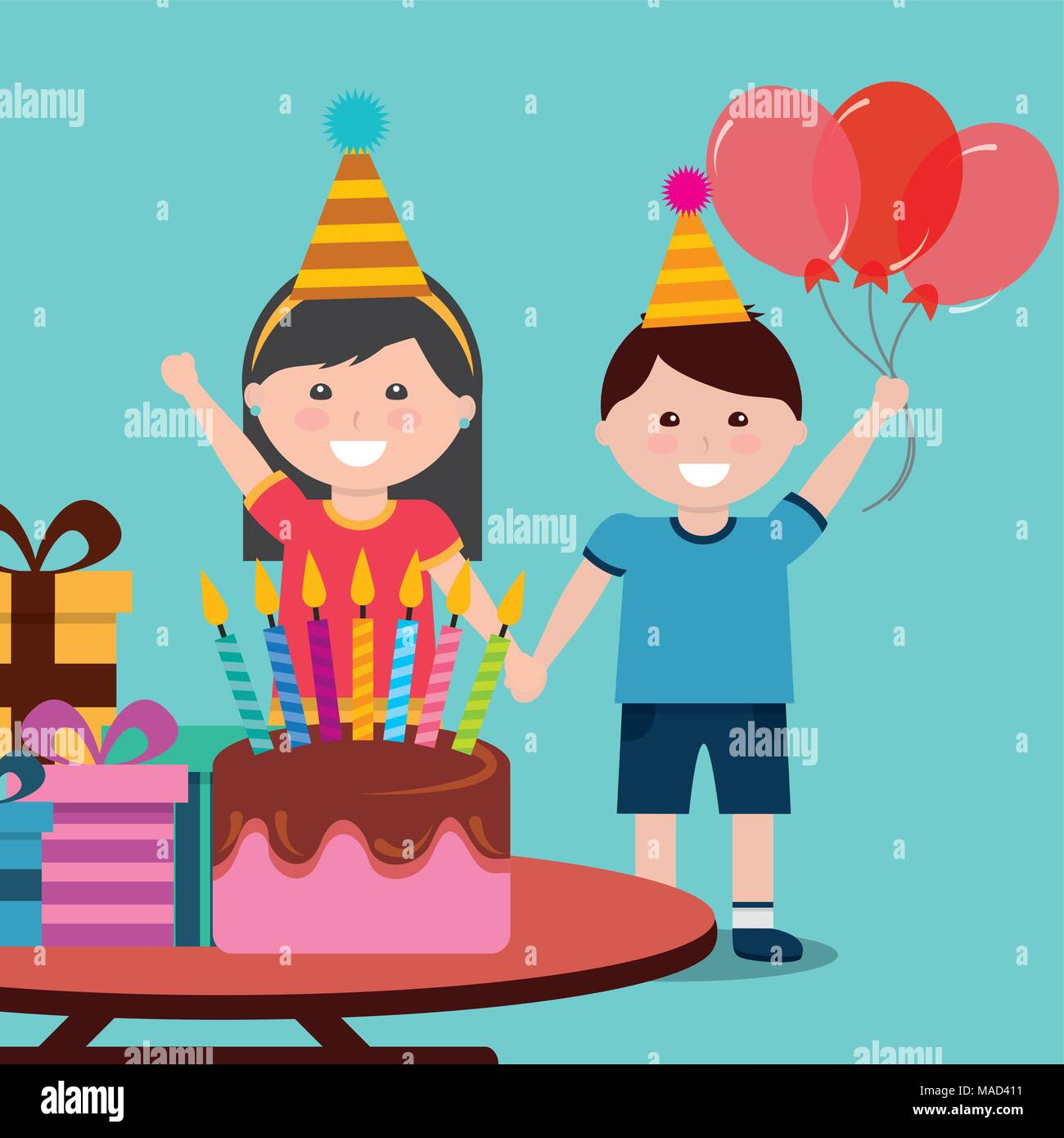 Cute Girl And Boy Celebration Happy Birthday Cake Gifts Stock Vector