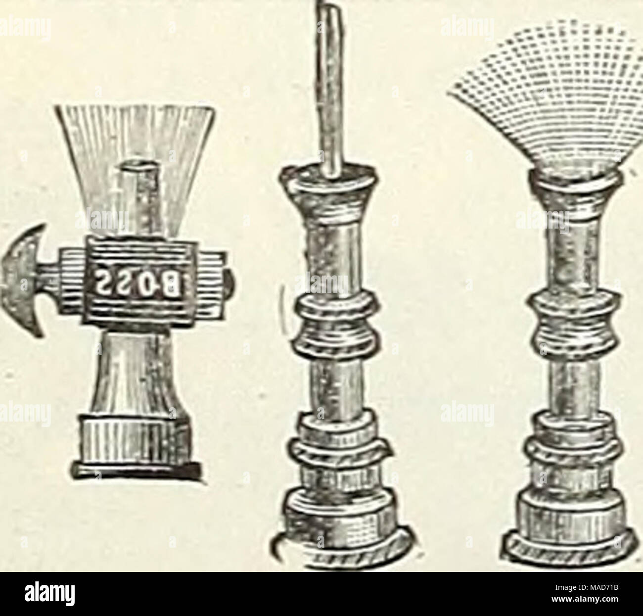 """. Dreer's quarterly wholesale price list of tools, fertilizers, insecticides, sundries, etc . Child's Rainilaker. Unpainted Stakes for Chrysanthemums, etc. Per 100. Per 1000. 3£ feet long,  inches in diameter $ 60 $5 00 3£ """" 