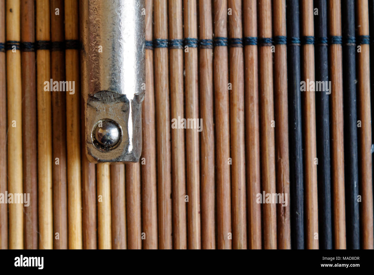 Spanner fasteners on wooden background, wrench part - Stock Image
