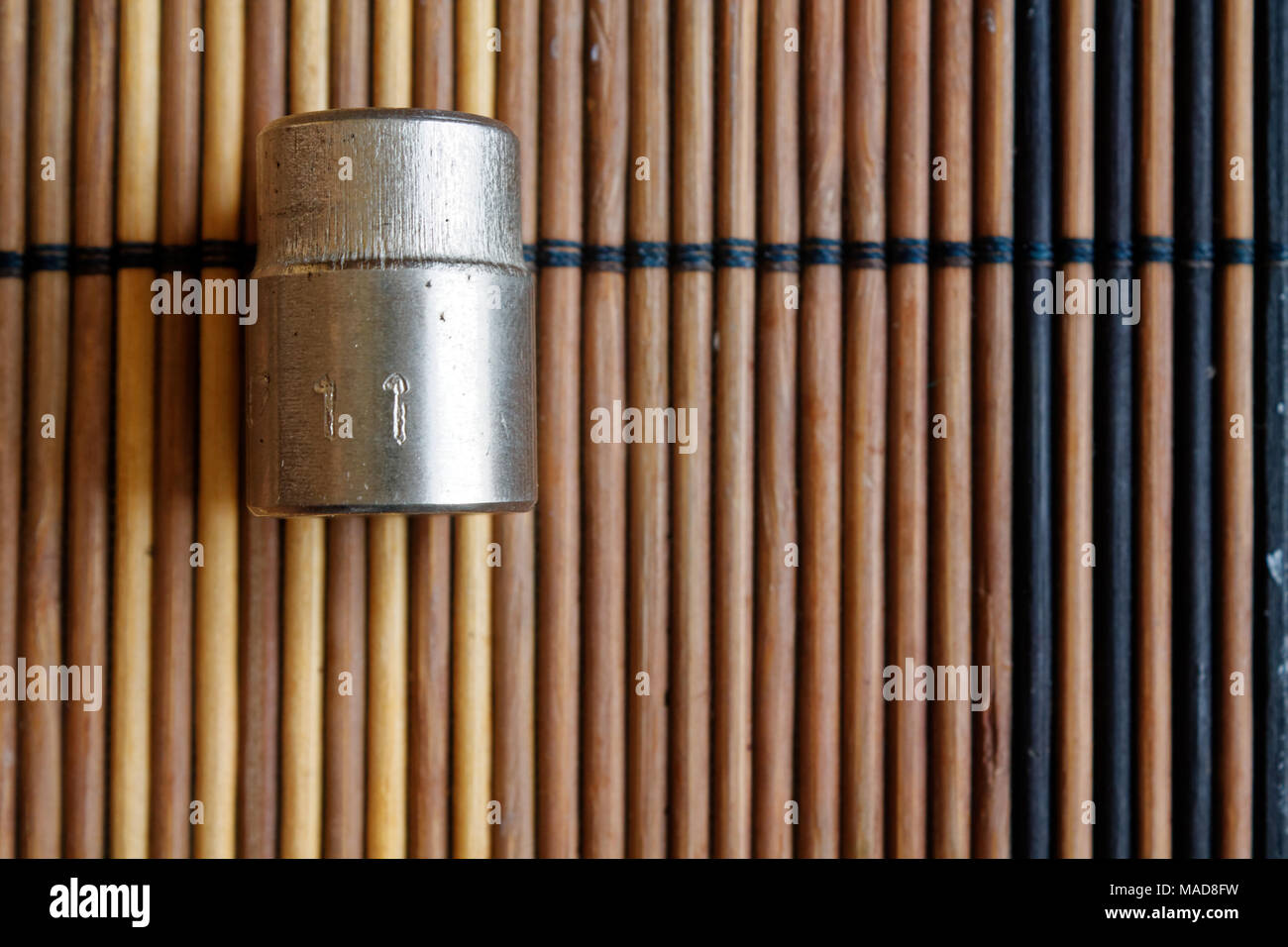 Torx Socket for spanner on wooden background, wrench sockets size is 11 - Stock Image