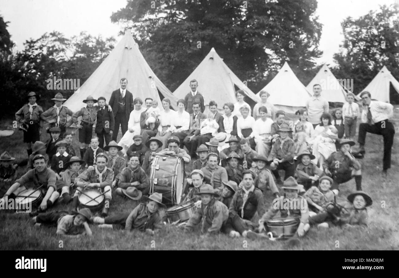 71st Liverpool Scouts in camp (location unknown), probably 1930s - Stock Image