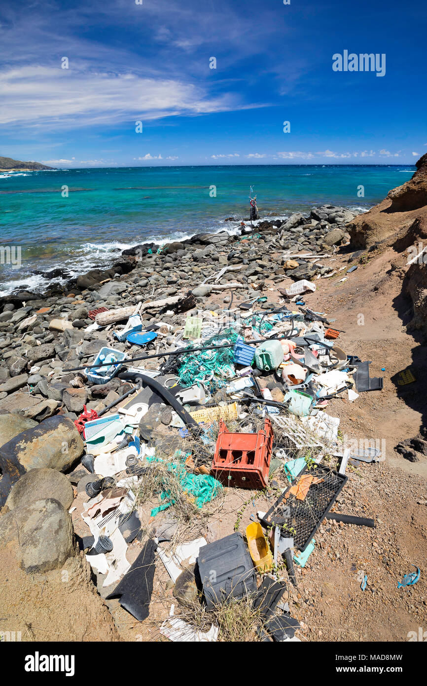 Much of the north side of the island of Molokai in inaccessible. Trade winds blow onshore regularly bringing with them piles of plastic that have been - Stock Image
