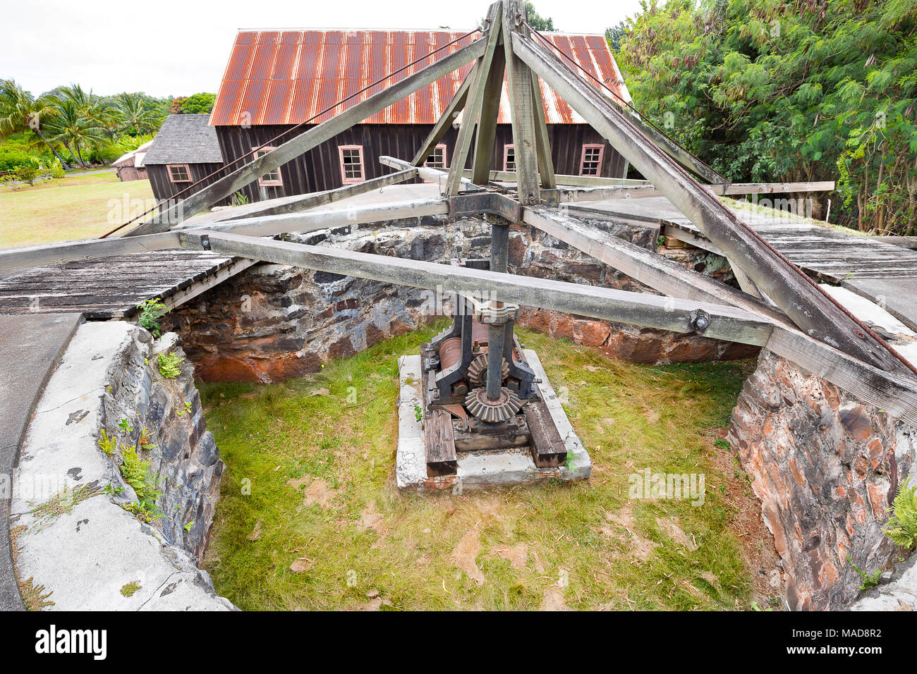 A mule-driven cane crusher at the RW Meyer Sugar Mill Museum in Kualapuu, Molokai, Hawaii. This is listed on the National Register of Historic Places  - Stock Image