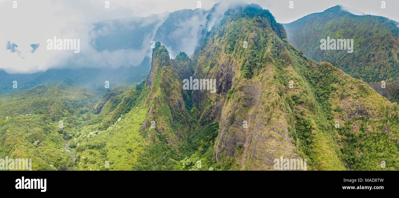 An aerial view of the Maui Iao Needle in Iao Valley State Park, Maui, Hawaii.  Four images were digitally combined to create this composite. - Stock Image