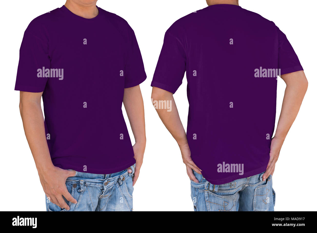 Man wearing blank dark magenta color t-shirt with clipping path, front and back view. Template for insert logo, pattern, or artwork. - Stock Image